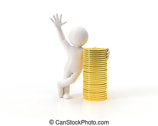 3d small people - gold coins Isolated white background