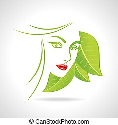Green eco friendly icon with women face