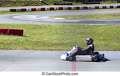 Go kart - Running go kart on the finish line