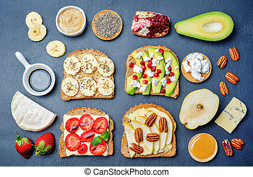 set healthy sandwiches with vegetables and fruits with the...