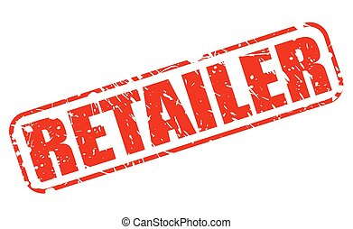 RETAILER RED STAMP TEXT ON WHITE