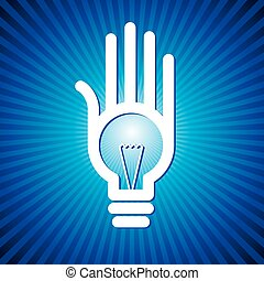 bulb idea with human hand with retro background