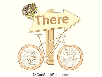 Road sign and bicycle - Conceptual illustration with bicycle...