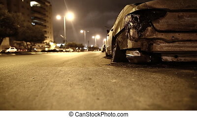 road accident, a broken car