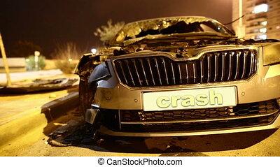 road accident, a broken car