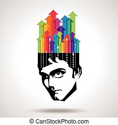 head with arrows - Thoughts and options. vector illustration...