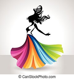 fashion women illustration with creative dress