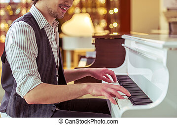 鋼琴, 玩, 人