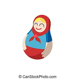 Russian matryoshka icon, cartoon style