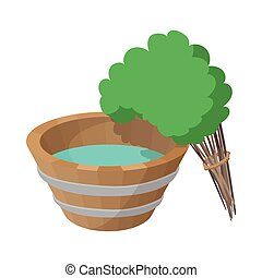 Russian bath tub and broom icon, cartoon style - Russian...