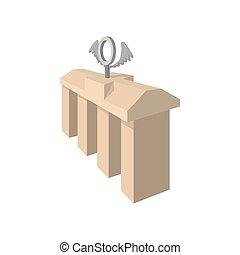 Brandenburg gate icon, cartoon style - Brandenburg gate icon...