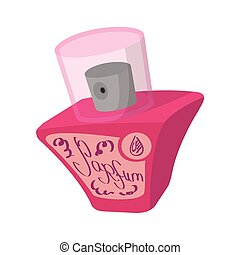Pink female perfume flacon with sprayer icon in cartoon...