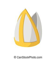 Papal tiara icon, cartoon style - Papal tiara icon in...