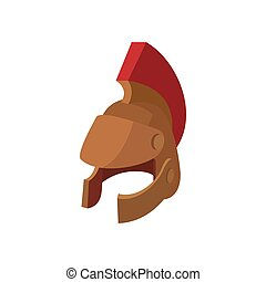 Roman legionary helmet icon, cartoon style