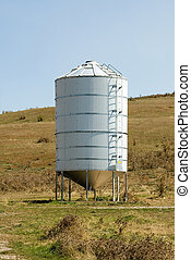 Grain Silo - A galvenised Iron grain silo on a farm in...