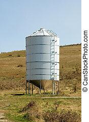 Grain Silo - A galvenised Iron grain silo on a farm in...