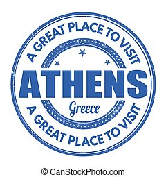 Athens grunge stamp - Athens grunge rubber stamp on white...