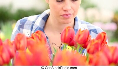 springtime, woman in garden touches and smells tulips