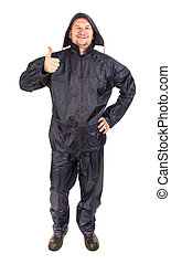 Man in black rain coat. Isolated on a white background.