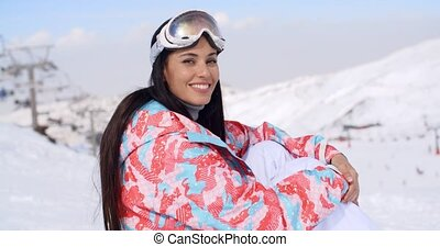 Gorgeous young woman in ski clothes and goggles - Gorgeous...