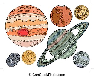set of hand drawn, vector illustration of objects of solar...