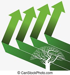 green arrows with tree