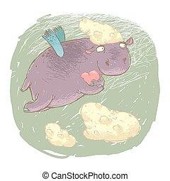 Fairy Hippo with a Heart