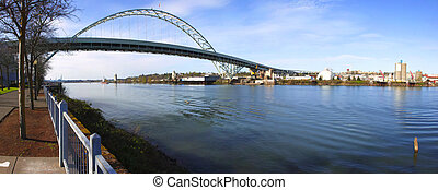 Fremont bridge panorama, Portland OR. - A panoramic view of...