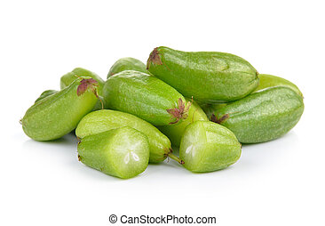Bilimbi (Averhoa bilimbi Linn.) or cucumber fruit on white...
