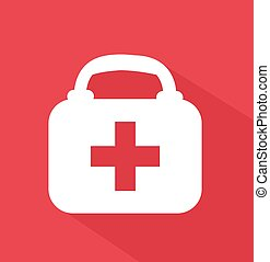 First aid case flat icon
