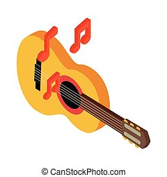 Acoustic guitar icon, isometric 3d style - Acoustic guitar...