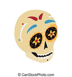 Mexican skull icon, isometric 3d style