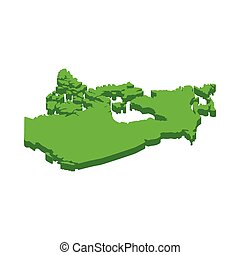 Canada Map icon, isometric 3d style