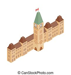 Parliament Buildings, Ottawa icon in isometric 3d style on a...
