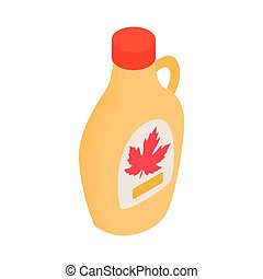 Bottle of maple syrup icon, isometric 3d style - Bottle of...