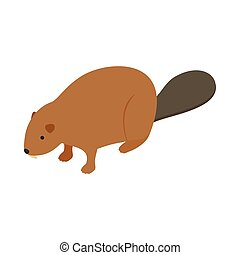 Beaver icon, isometric 3d style - Beaver icon in isometric...