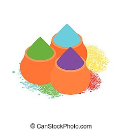 Colorful tika powders icon, isometric 3d style