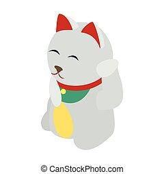 White Japanese Spitz icon, isometric 3d style