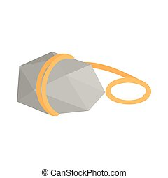 Stone with rope icon, isometric 3d style