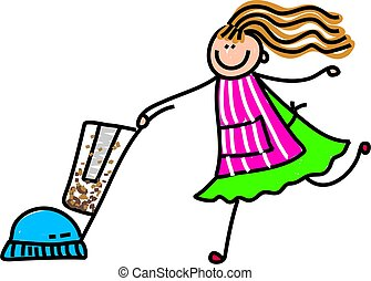 vacuuming mum - Cute childlike drawing of a mother wearing...