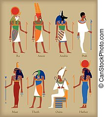Egyptian gods icons in flat style for eny design