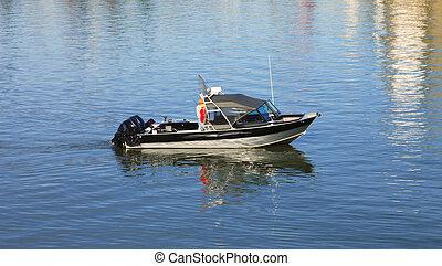 Fishing boat - Two fishermen enjoying a day out fishing