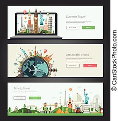 Flat design banners, headers set illustration with world...