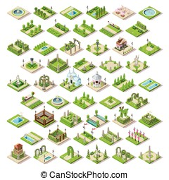 Game Set Building Isometric - City park furniture and roads...