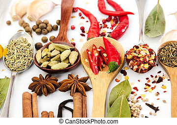 Spices in spoons on white background.