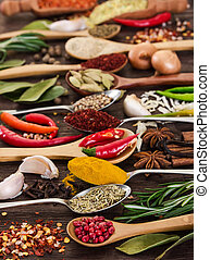 Spices in spoons on wooden background.