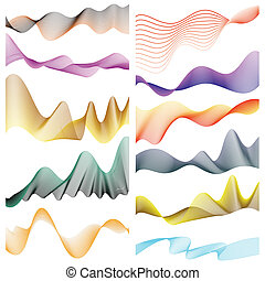 Set of linear banners for your design on white background.