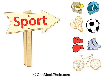 Road sign sport - Illustration with a road sign on sports...