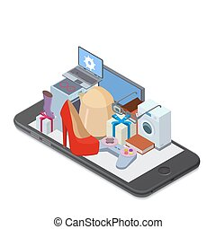online shopping concept - Smartphone with different...