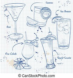New Era Cocktail Set on a notebook page Vector illustration,...